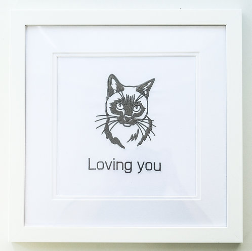 Embroidered Cat in Frame