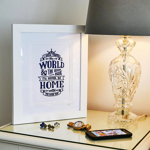 Embroidered Travel The World Wording in Frame
