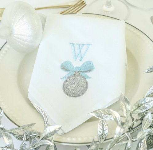 Christmas Bauble & Bow Personalised Napkin (Blue & Grey)