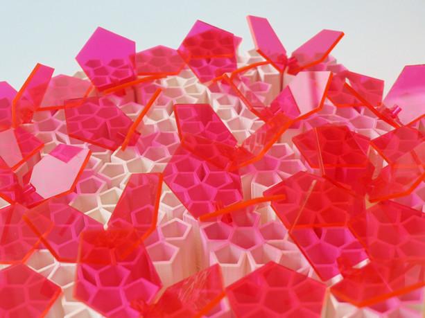 Detail - 3D printed ceramic and laser cut plexiglass