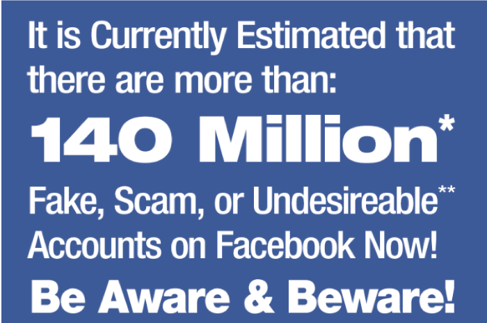 Details about Facebook Fake accounts - currently estimated at 140million fake accounts worldwide