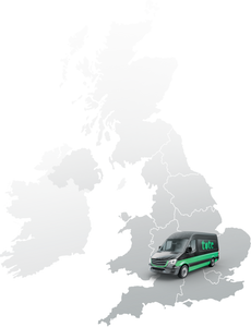 Image of the Uk map, with Tote van on Swindon, Wiltshire.