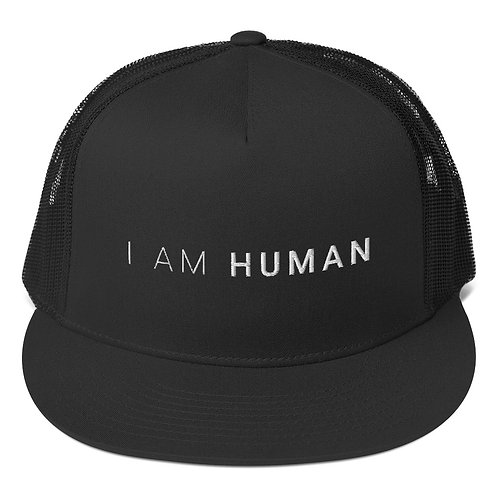 I AM HUMAN Trucker Cap in Black