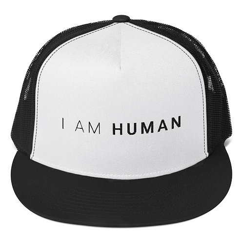 I AM HUMAN Trucker Cap in White