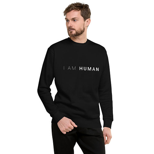 I AM HUMAN Unisex Fleece Pullover in Black