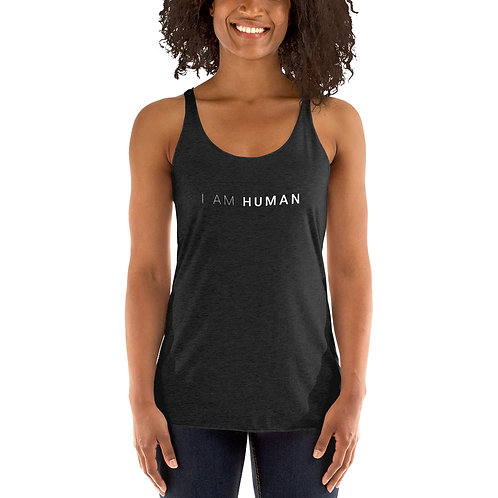 I AM HUMAN Women's Racerback Tank in Vintage Black
