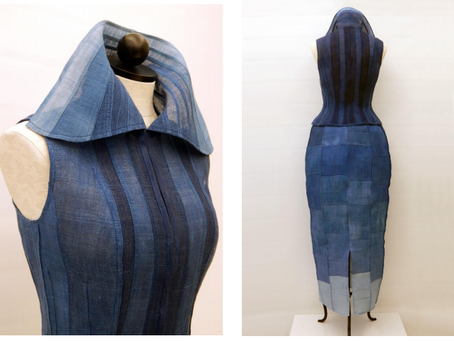 Korean-American Designer Uses 80 Year Old Hemp Fabric to Make Jogakbo Patchwork Dress