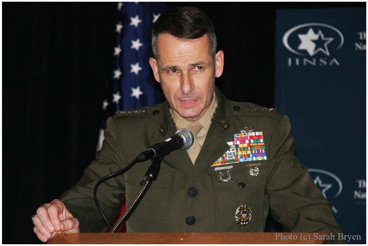 Former Chairman of the Joint Chiefs, 4* General Peter Pace USMC (ret), speaking at the JINSA dinner (photo)