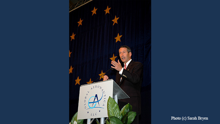 Former Governor Mark Sanford speaking in South Carolina (photo and graphics)