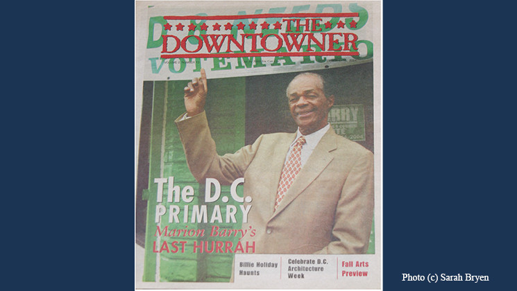 Former D.C. Mayor Marion Barry on the Downtowner Newspaper (photo)