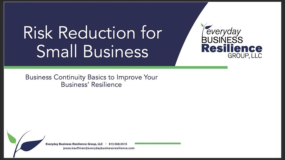 Risk Reduction for Small Business Webinar