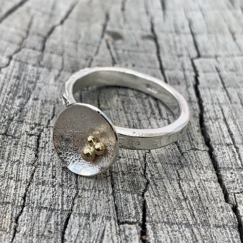 'Sunshine crater' Sterling silver and 18ct gold ring