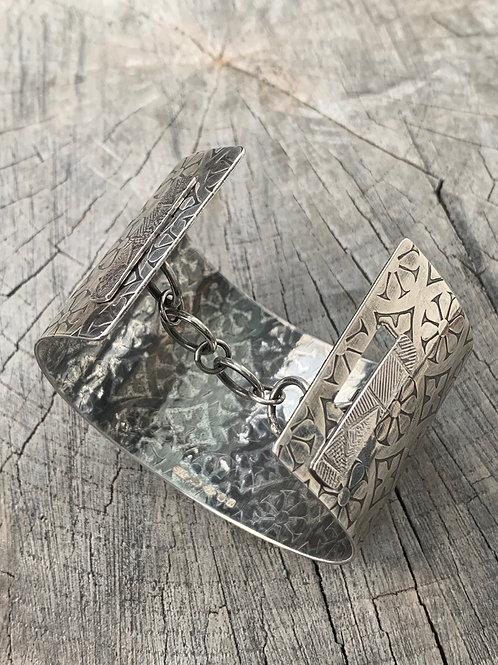 'Deco' Sterling silver cuff bangle