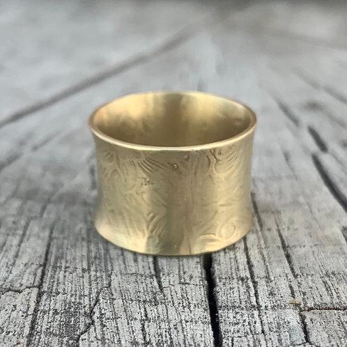 'I'm brassy' Textured gold brass ring - UK Size I1/2