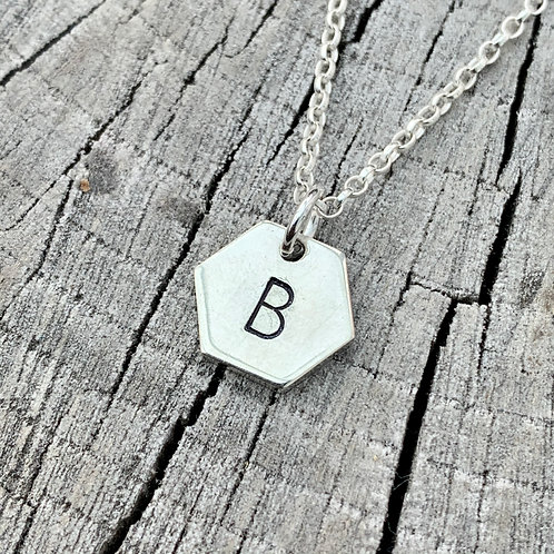'Hex next 2' Sterling silver geometric hexagon initial necklace