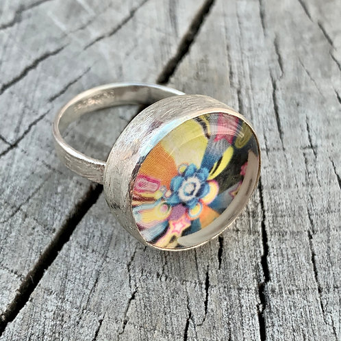 'Starburst' Sterling silver multicolour ring - size P1/2