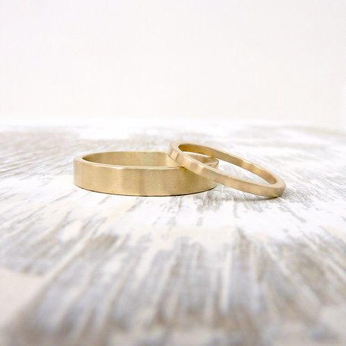 9ct gold wedding band set - 1.5mm & 3mm