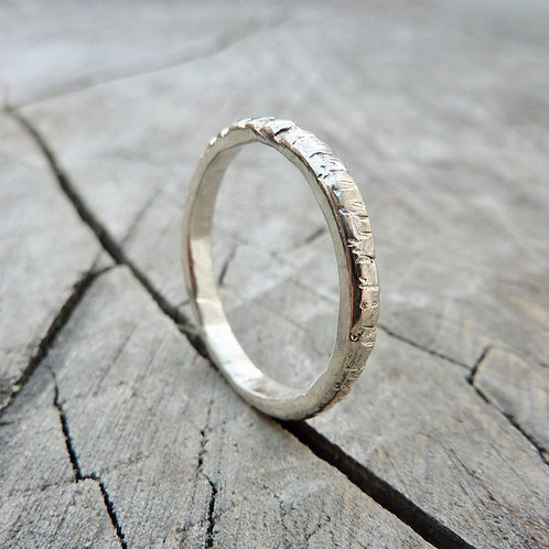 Sterling silver textured ring - size O1/2