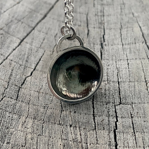 'Dark dome' Sterling silver necklace