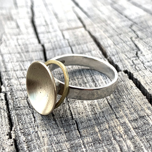 'Spin me' Sterling silver and gold coloured hygge ring