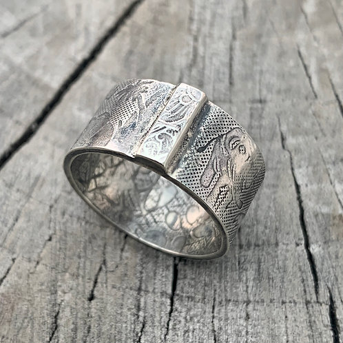 """""""African dream' Sterling Silver Elephant Palm Tree Ring - UK Size O"""
