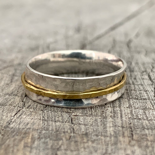 'Band of brass' Sterling silver and brass spinner ring. Size P