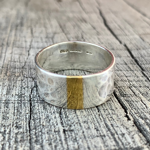 'Sliver of light' Sterling silver and gold coloured ring - size L1/2