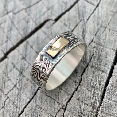 'A block of sun' Sterling silver and 9ct gold bar ring