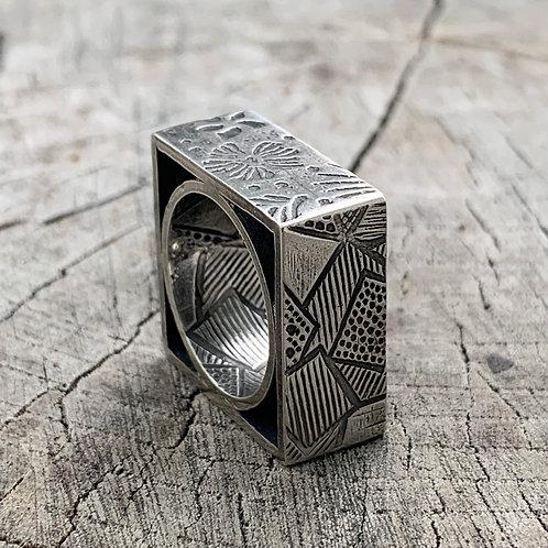 'Squarish' sterling silver ring - size J