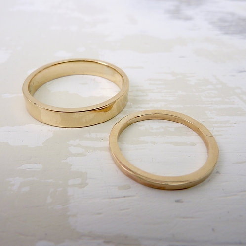 9ct gold wedding band set