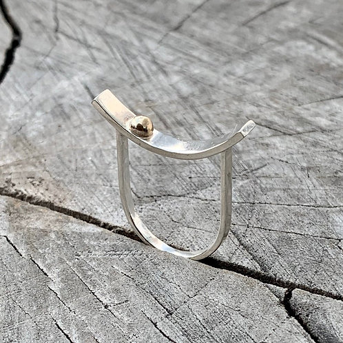 'A pop of sun' Sterling silver and gold ring - size K-L