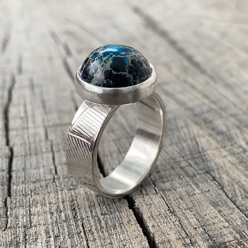 'Jasper and geometry' Sterling silver and jasper ring