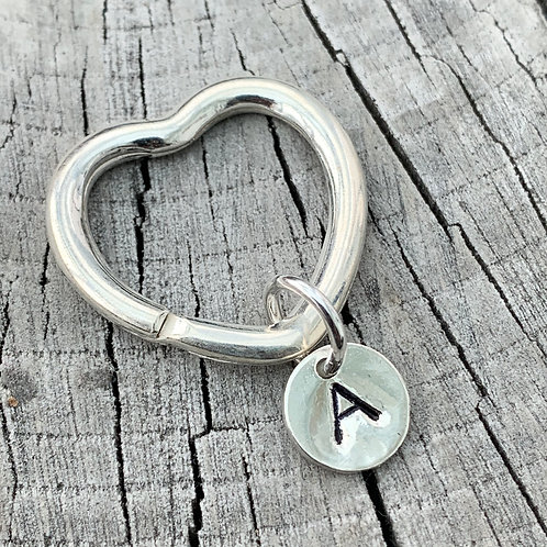 'Hearty' Sterling silver initial keyring