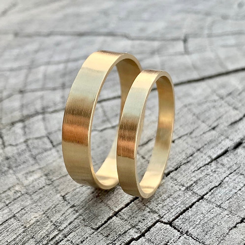 9ct gold wedding band set