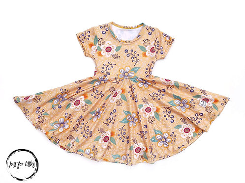 Just for Littles Mustard Floral Dress