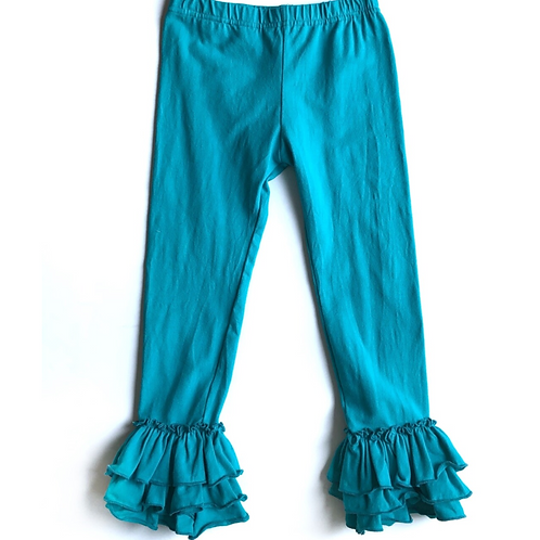 Just for Littles Teal Ruffle Bottom Leggings