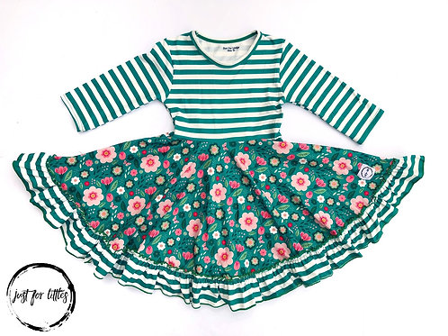 Green Stripe Floral Dress