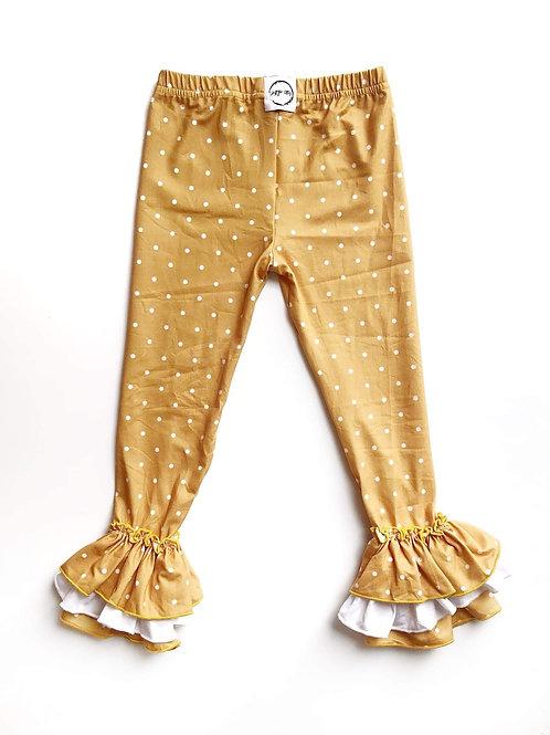 Just for Littles Mustard Polka Dot Legging