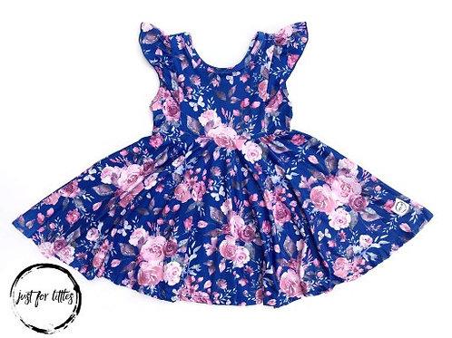 Just for Littles Royal Blue Floral Dress