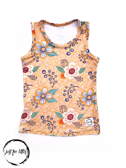 Just for Littles Mustard Floral Tank