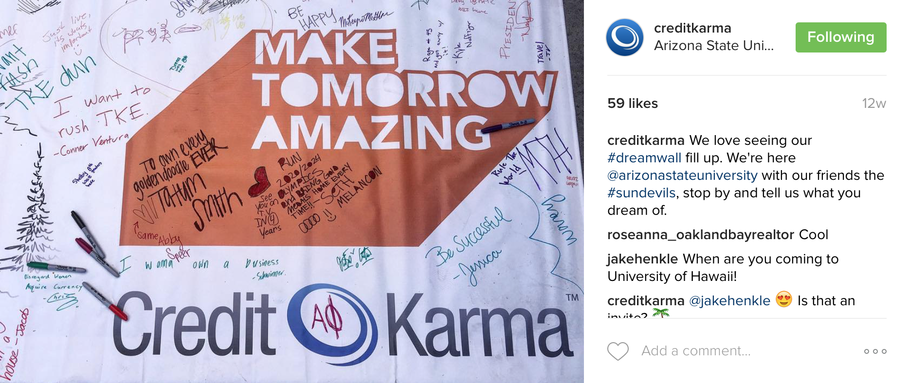 Credit Karma board