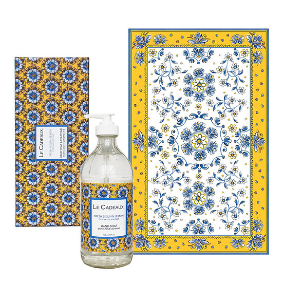 French Sicilian Lemon Hand Wash Bottle and Tea Towel Boxed Set