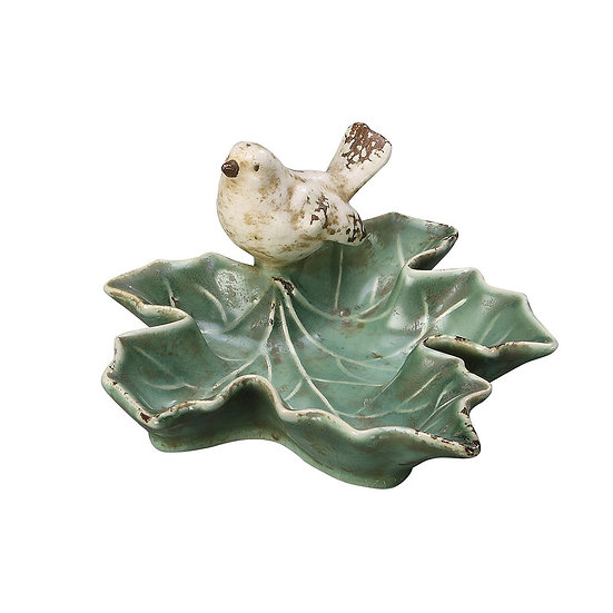Bird on Green Leaf Soap Dish