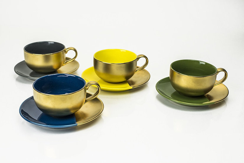 Gold Embossed Capuccino Set