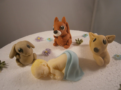 Cute christening woodland cake topper