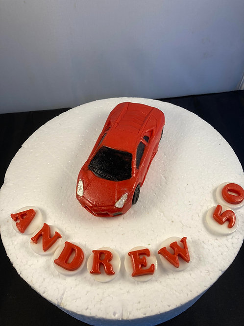 supercar - an edible sports car cake topper with name and age