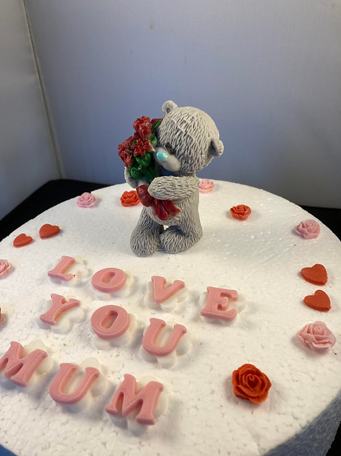Mother's Day bear cake cake topper with red roses and hearts