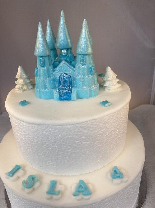 Edible fondant 'Frozen blue' and white princess fairy-tale castle cake topper