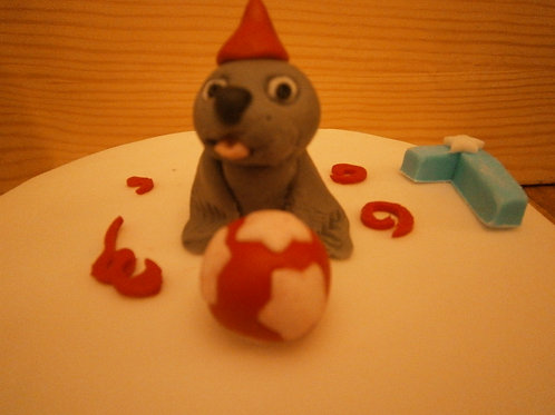 Seal birthday party cake topper with name & age