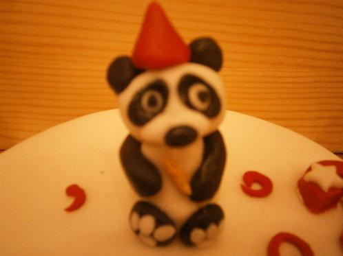 Panda bear birthday cake topper with name & age